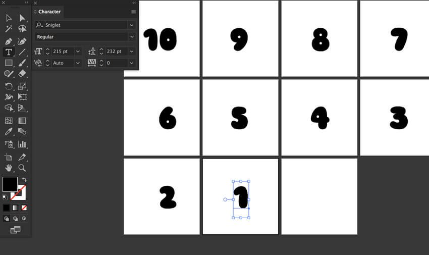 Sniglet font Type countdown Number characters Type Tool