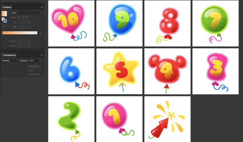 apply color stroke strings balloon