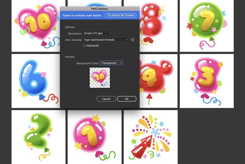 PNG Options Export transparent background files