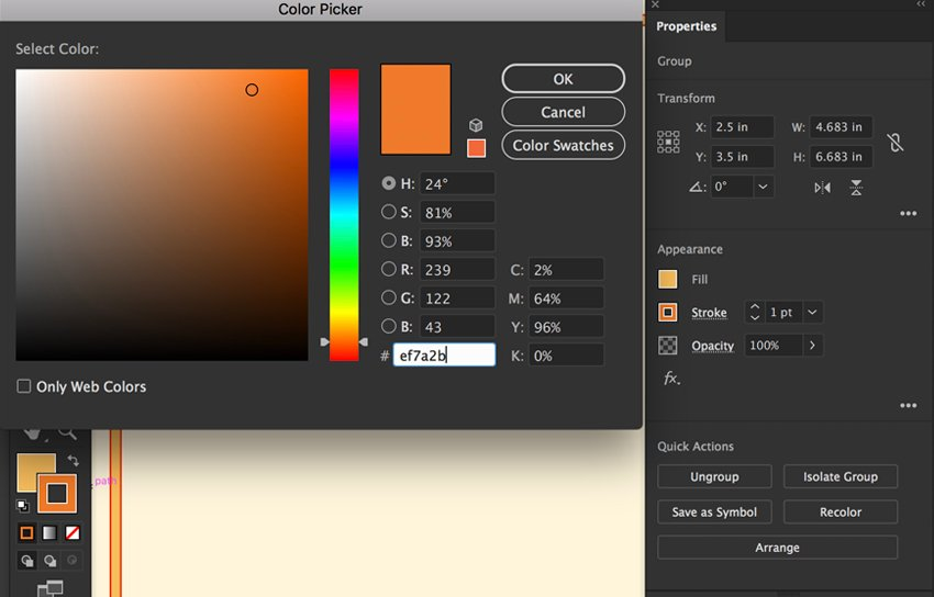 Expand Stroke shape and give hex color