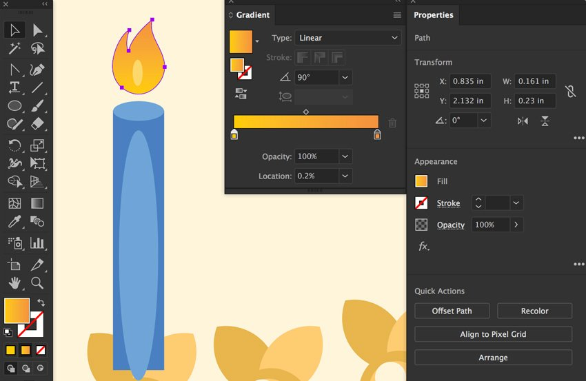 give flame gradient angle and create ellipse flame