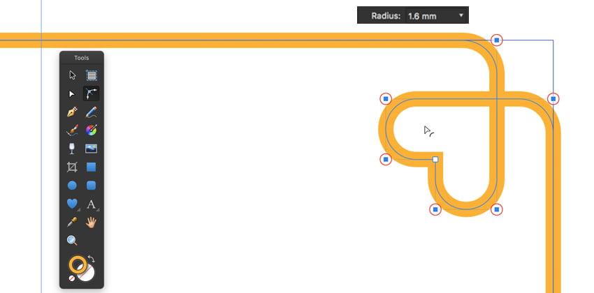 se corner tool C to curve corner radius