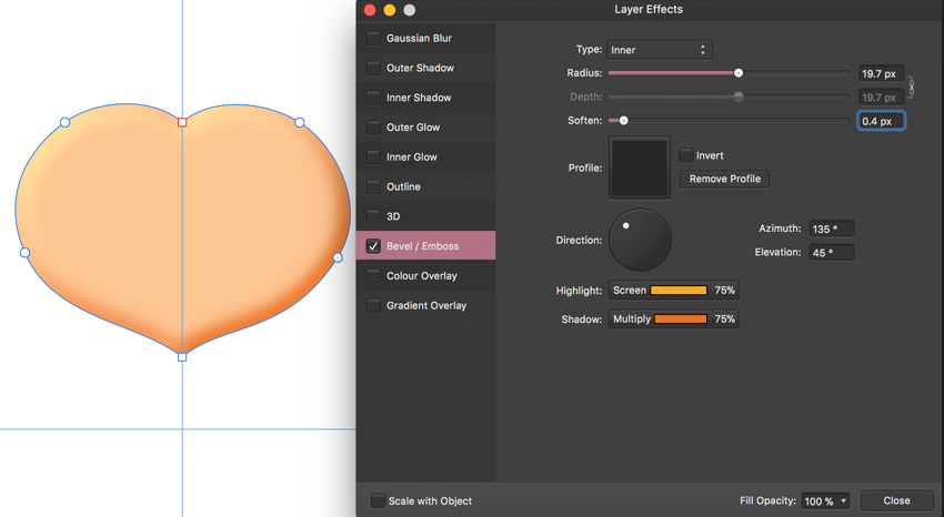 skew shape with nodes and node tool and apply bevel emboss effect inner type