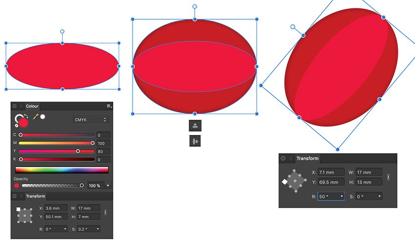 apply align center and middle icon and rotation from transform panel