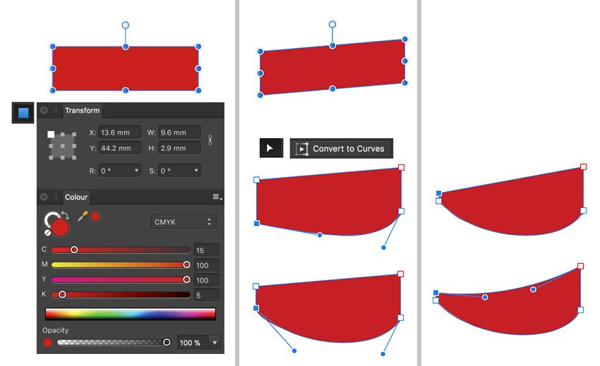 Create sleeves using rectangle tool and Nodes to convert to curves