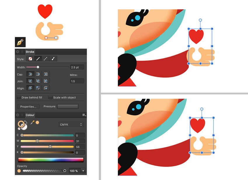 Pen Tool Stroke set Group elements move and move to back
