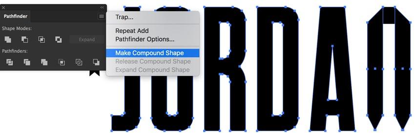 pathfinder panel window pathfinder make compound shapes