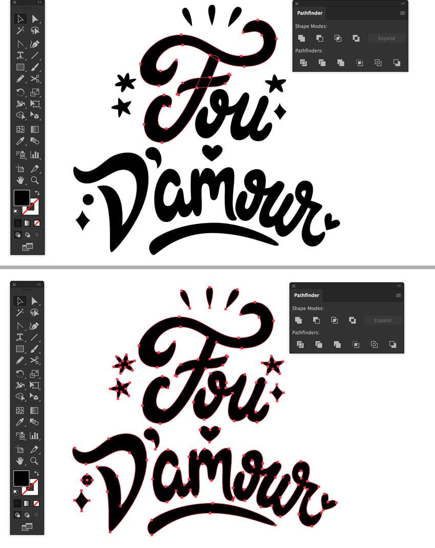 fou damouir french text  window pathfinder unite selection tool