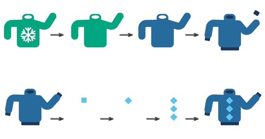 duplicate sweater color fill create rectangle design sweater