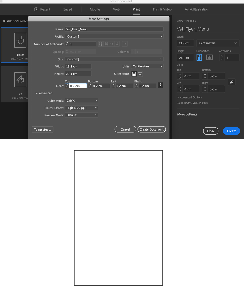 set up document setting artboard orientation width height bleed lines create