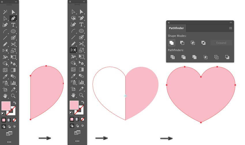 pen tool draw half heart reflect shape unite from pathfinder lyer templates flyer design how to make a flyer event flyer menu template