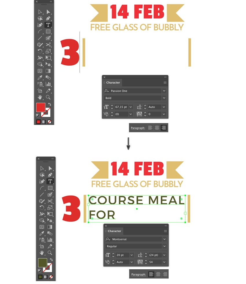 type bounding box point tool font size tracking leading color fill 3 course meal lyer templates flyer design how to make a flyer event flyer menu template