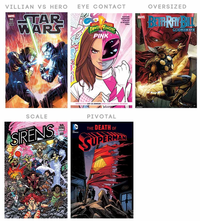 How to distribute comic book cover characters in villian vs hero eye contact oversizing scaling pivotal point