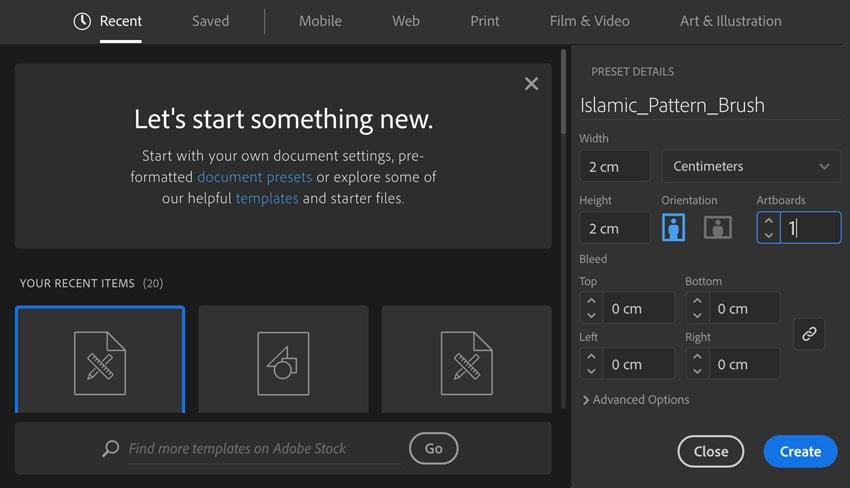 How to open new document set settings in Adobe Illustrator Pattern Brush