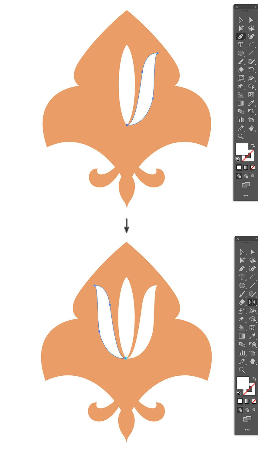 use pen tool to create petals and mirror using reflect ool option shift drag
