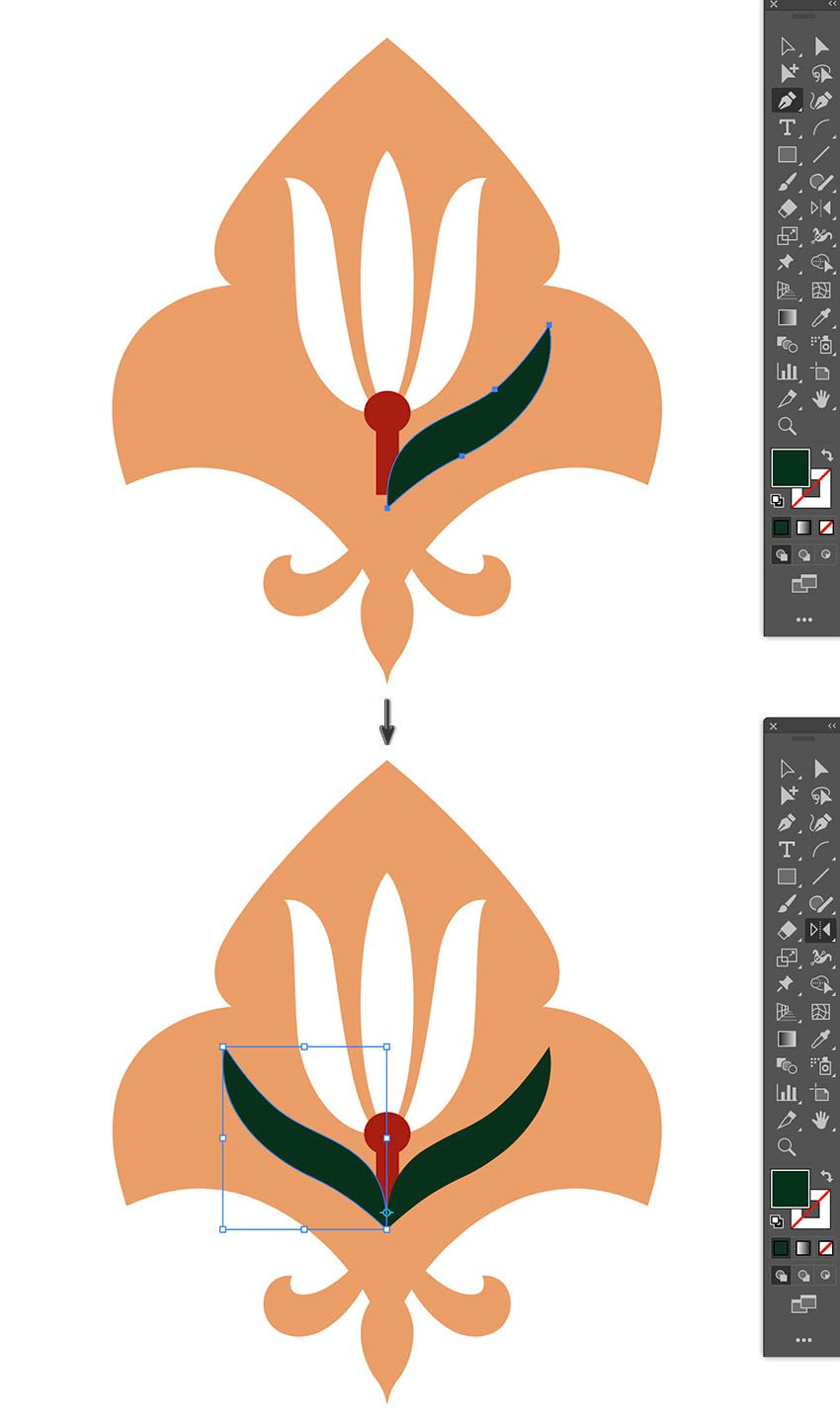 create flower sepal using pen tool and reflect across using reflect tool