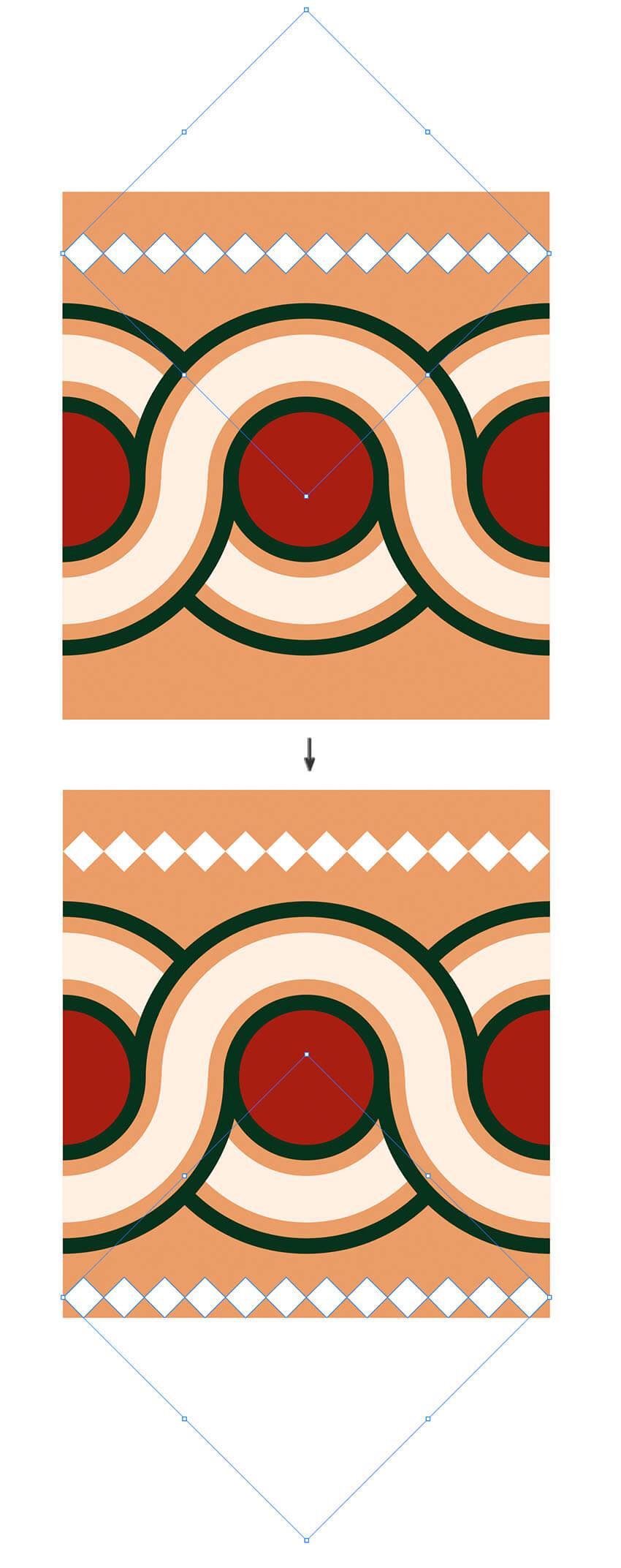 option shift drag diamond shape row horizontally and vertically