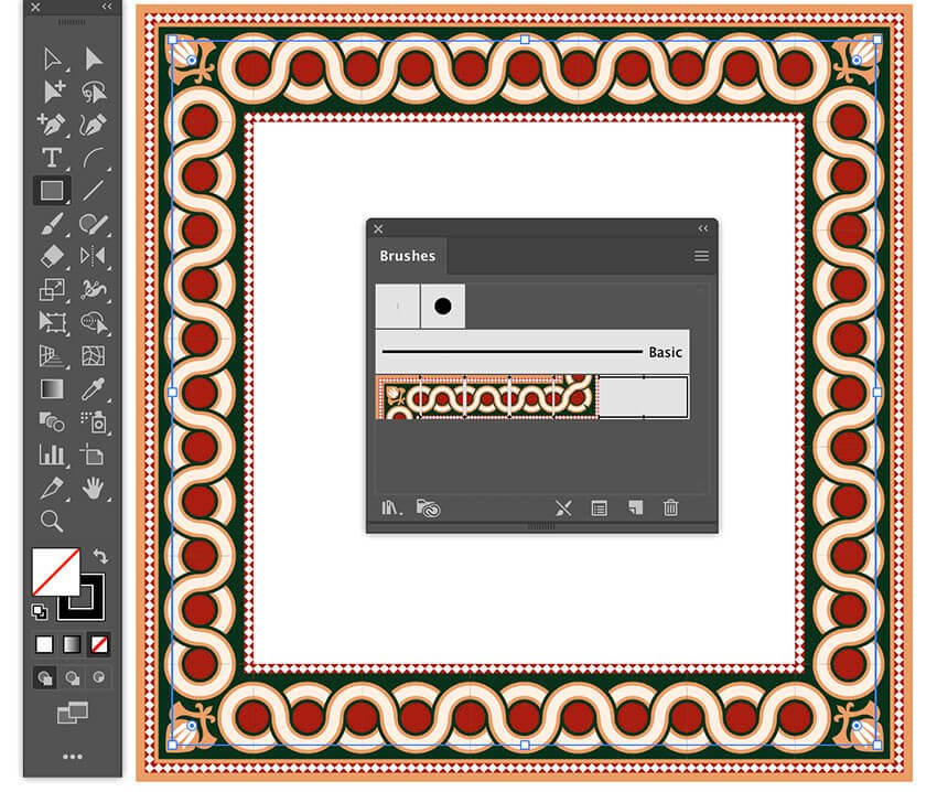 apply islamic pattern brush stroke to design illustrator borders