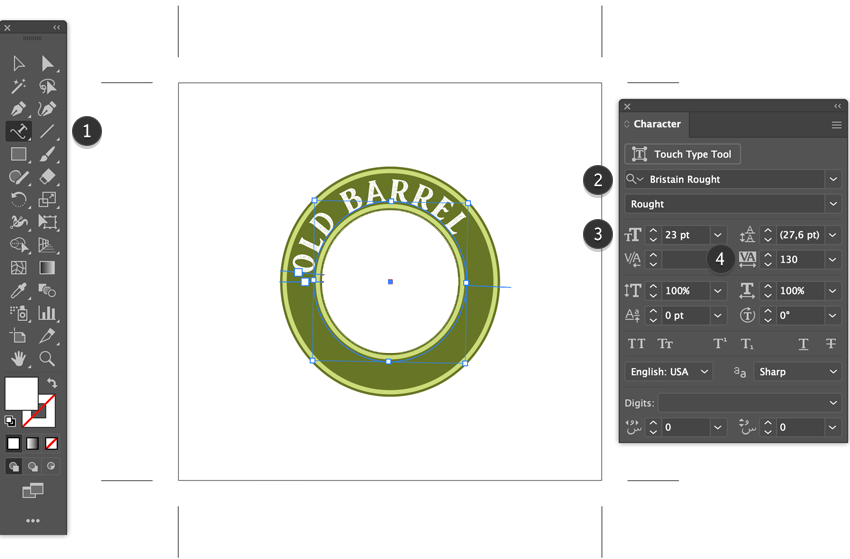 type on path tool add font text adjust spacing shortcut adobe illustrator bristain rought serif font beer label