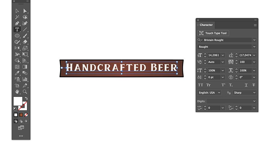 add bristain rought serif font text handcrafted beer on rectangle beer banner strip