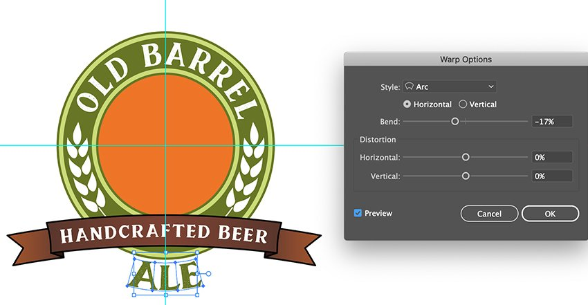 add extra text for type of beer envelope distort make with warp bend effect beer label design