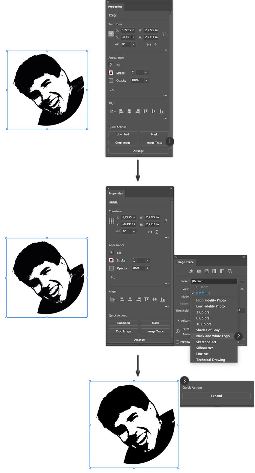 image trace photo set tracing presets in properties panel