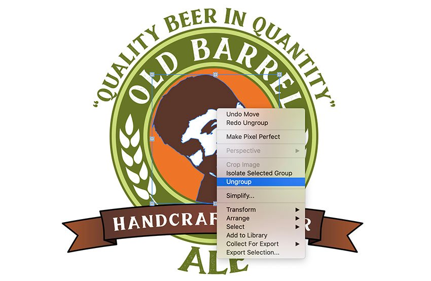 copy paste in front and ungroup face photo to beer label design template
