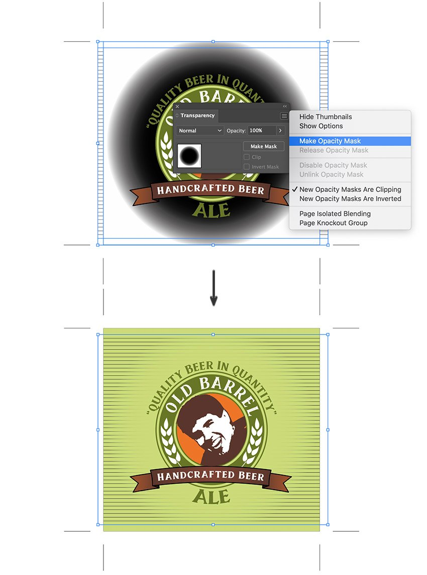 apply gradient opacity mask from transparency panel custom beer label design template
