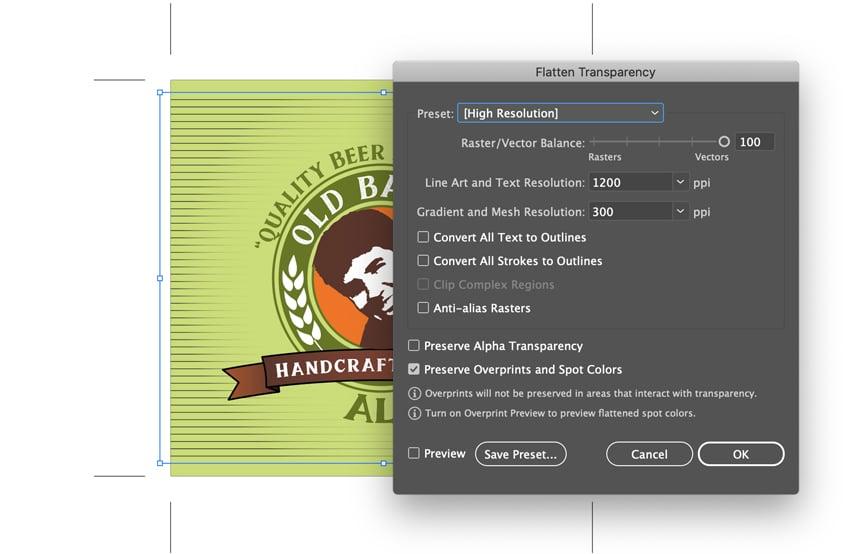 flatten transparency opacity mask beer bottle labels custom beer label design