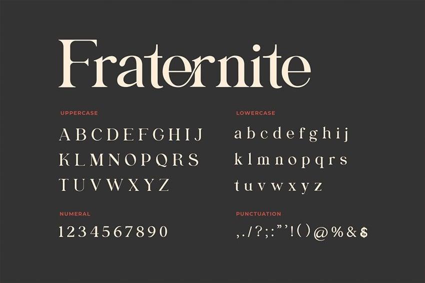 fraternite serif font similar to garamond display title header branding