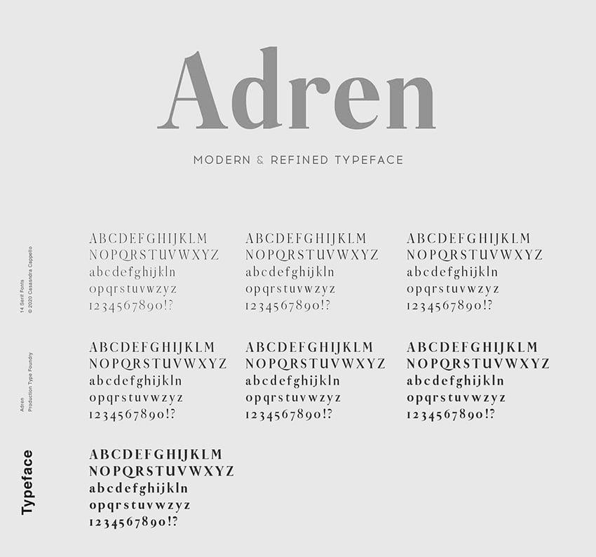 adren web font typeface modern condensed foreditorial magazine similar to georgia