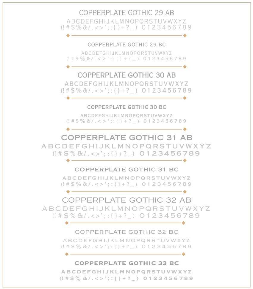 copperplate typeface gothic font Pro A B weight personal commercial font