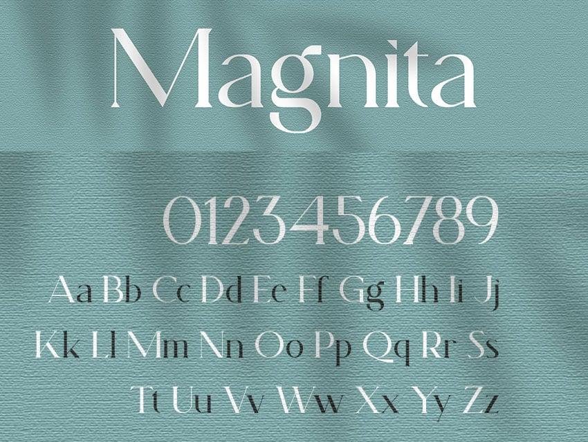 Magnita serif type font elegant luxury similar to copperplate font