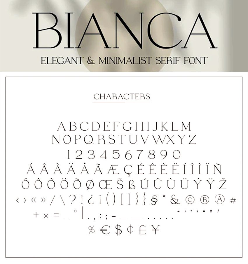 bianca elegant modern minimalist serif font like Copperplate elegantly condensed font