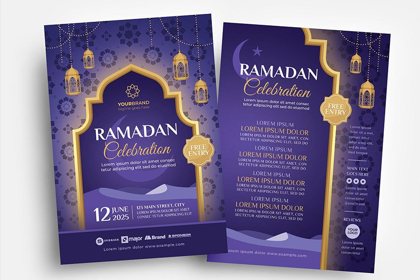 Ramadan Iftar flyer template design for Photoshop & illustrator available on envato elements