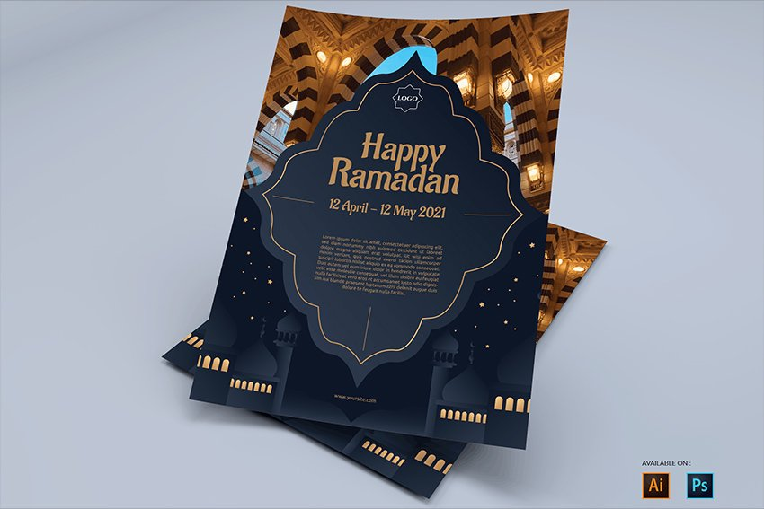 A classy ramadan mubarak flyer design for business to download from envato elements