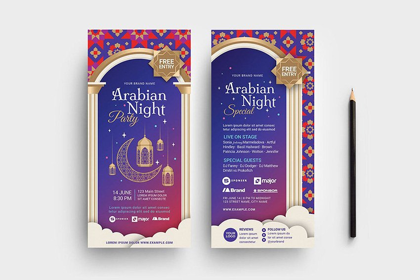 A Colorful Arabic flyer Templates with multiple flyer designs to promote eid offers