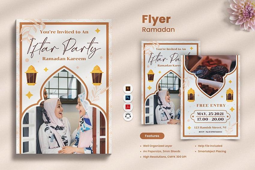 A ramadan kareem flyer template elegant modern design envato elements