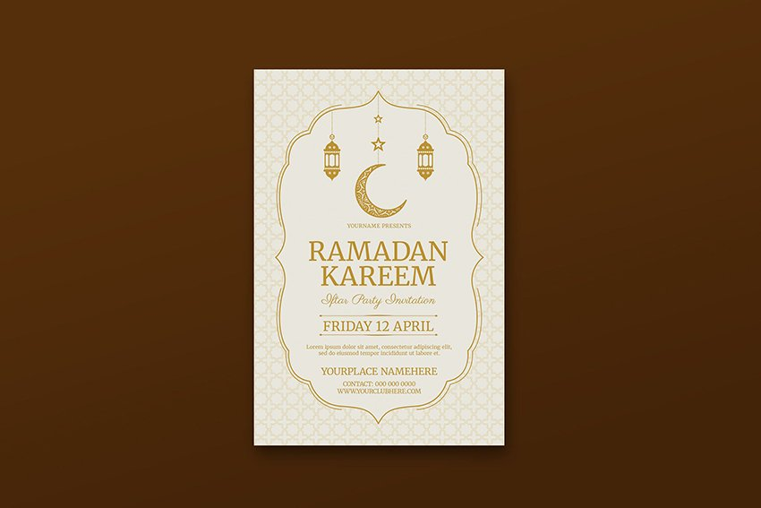 A Ramadan kareem party template flyer design found on Envato elements