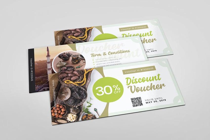 A ramadan iftar gift voucher card template on envato elements