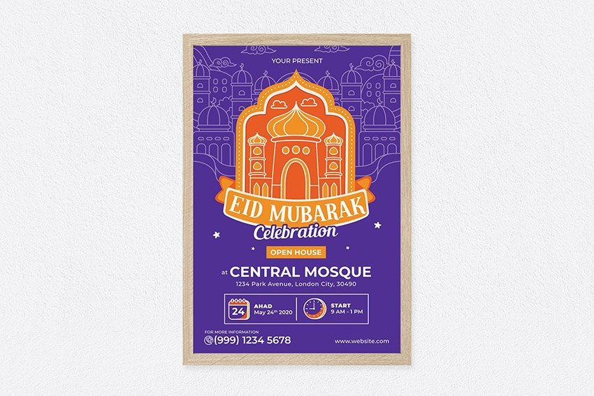 A colorful eid mubarak poster design template  avaialable on envato elements