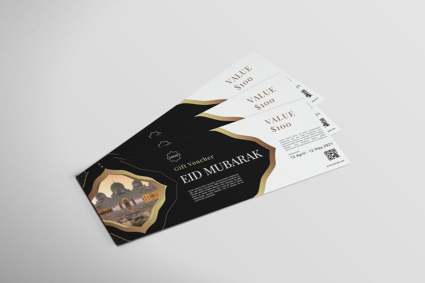 An eid mubarak voucher design template ready to print on envato elements
