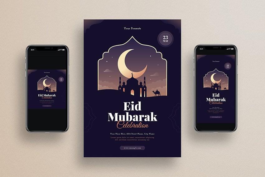 eAn id mubarak flyer with social media template