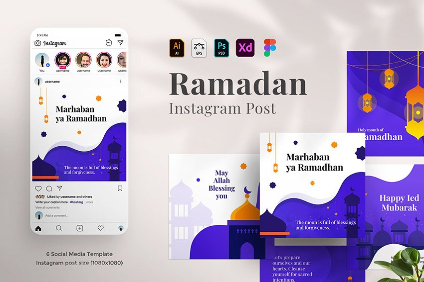 A ramadan mubarak instagram post templates kit on envato elements