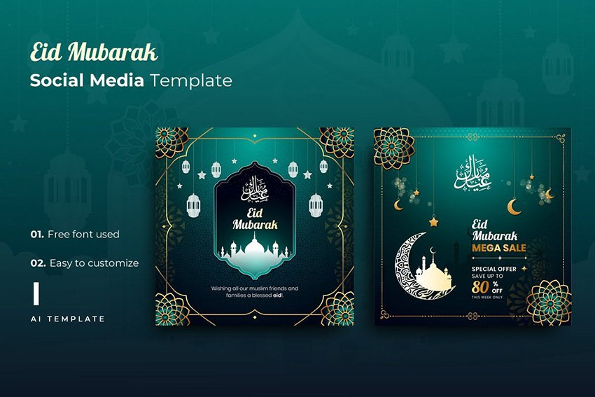 eid mubarak social media kit template envato elements