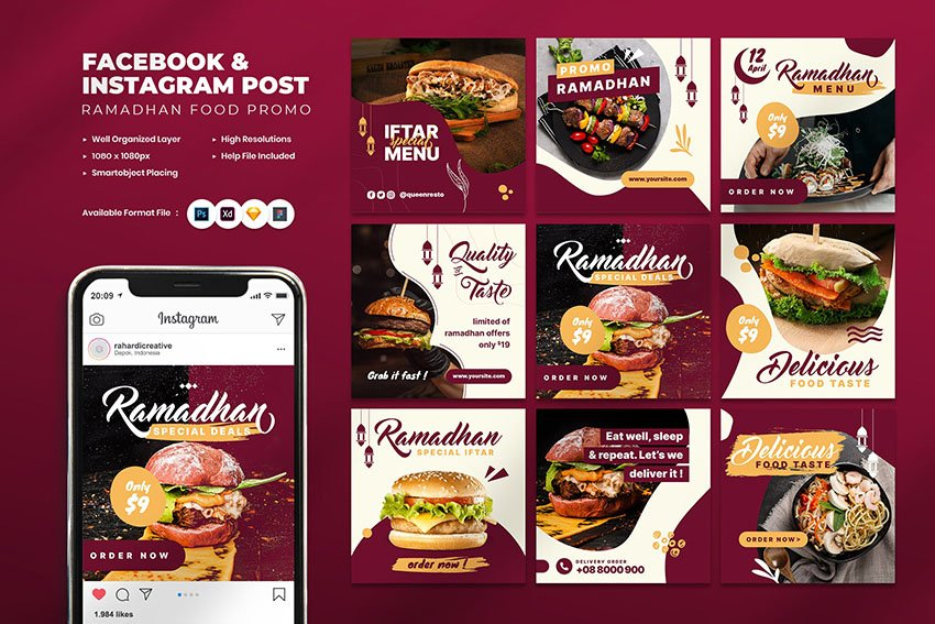 rA amadan food promo instagram post template set on envato elements