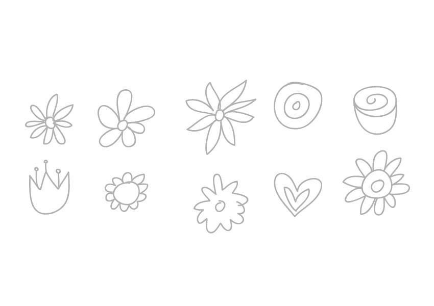 Sketch ten flowers