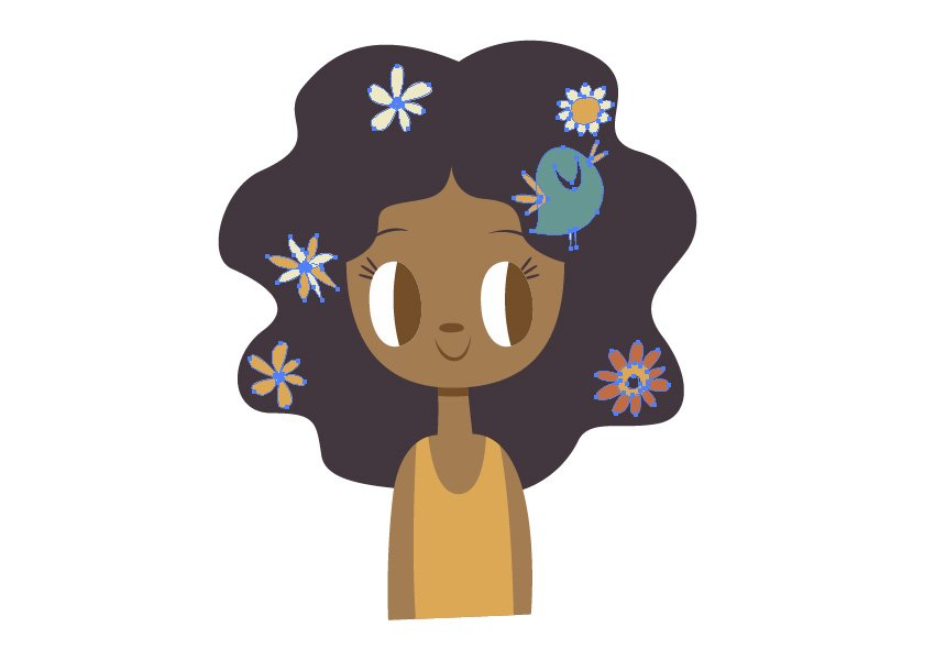 Start adding the flowers over the hair