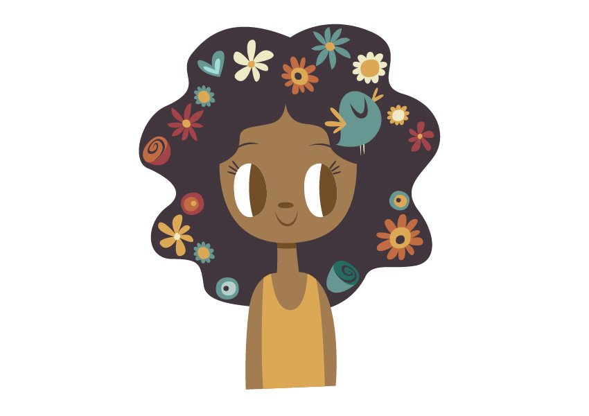 Resume adding the flowers over the hair