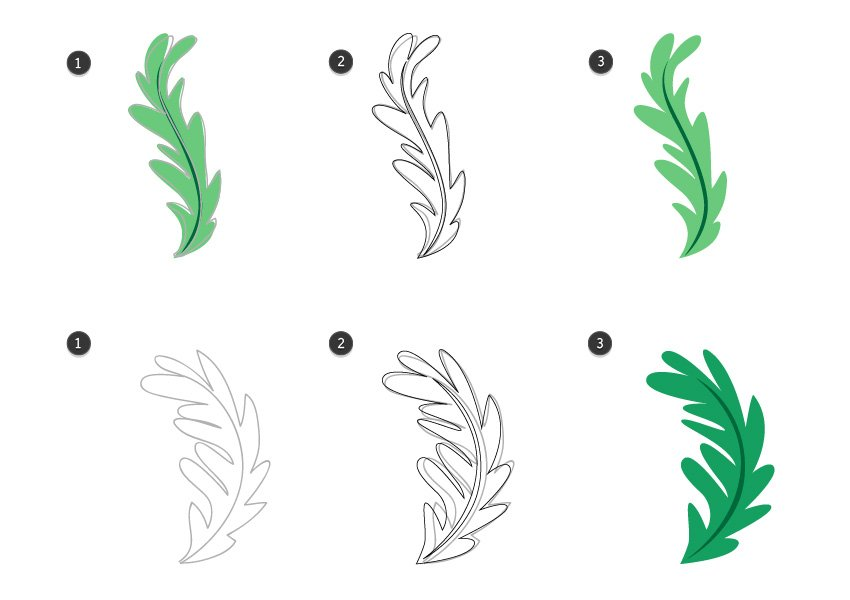 Trace the rest of the herb leaves